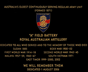 A Field Battery History Plaque